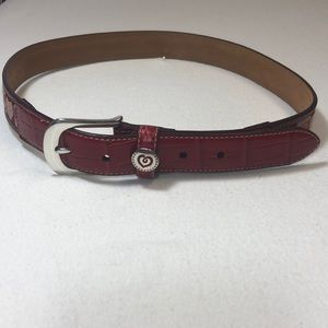 Brighton Red Hearts Leather/Fabric Belt NWT ML 32